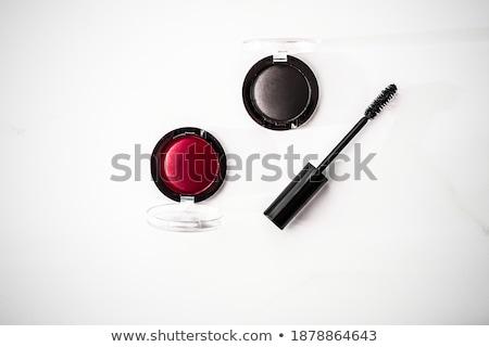 Foto d'archivio: Eyeshadows Black Liner And Mascara On Marble Background Eye Sh