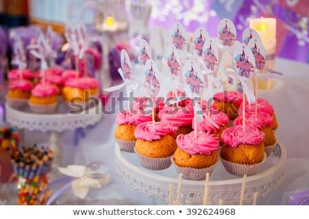 Közelkép áll édesség születésnapi buli party étel ünnepi Stock fotó © dolgachov