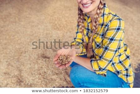 Jeans mulher qualidade celeiro agrícola Foto stock © Kzenon