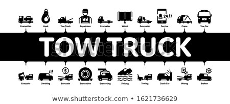 Tow Truck Transport Minimal Infographic Banner Vector Stock photo © pikepicture