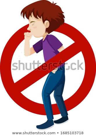 Coronavirus theme with sick man and stop sign Stock photo © bluering