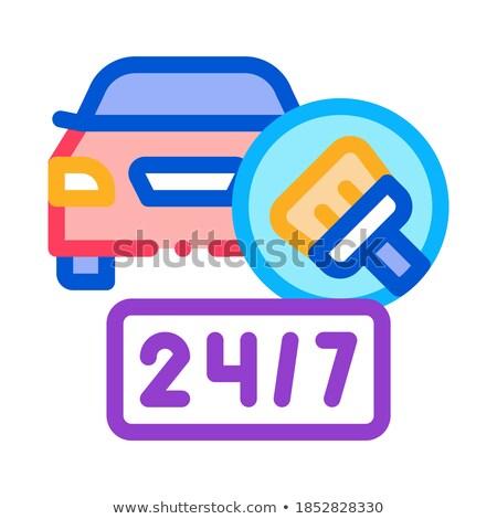 24 Stunde Autowaschanlage Symbol Vektor Gliederung Stock foto © pikepicture