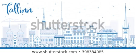 Outline Tallinn Skyline with Blue Buildings. Stock photo © ShustrikS