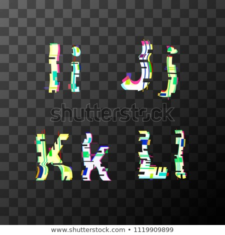 Glitch distortion font. Latin I, J, K, L letters on transparent Stock photo © evgeny89