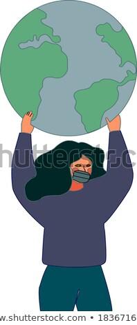 3d osób ikona ziemi świecie 3d ilustracja Zdjęcia stock © dacasdo