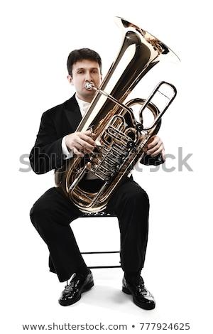 Tuba isolado branco ouro latão Foto stock © mkm3
