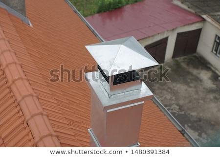 современных · дымоход · крыши · дома · город · стены - Сток-фото © elenarts