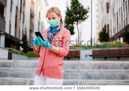 Kobieta lateks schody moda czarny sam Zdjęcia stock © phbcz