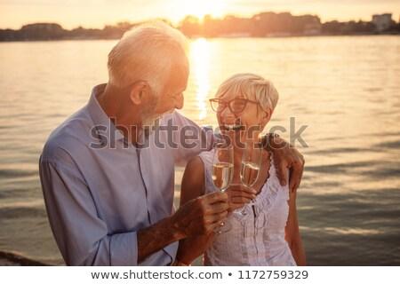 Lelkes férfi nő szemüveg víz üveg Stock fotó © photography33