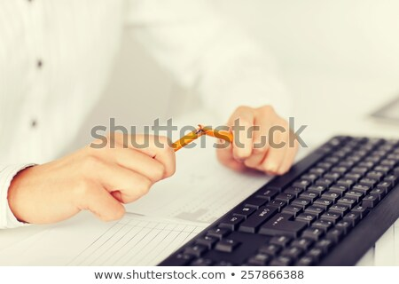 Mãos lápis dois isolado azul branco Foto stock © simply