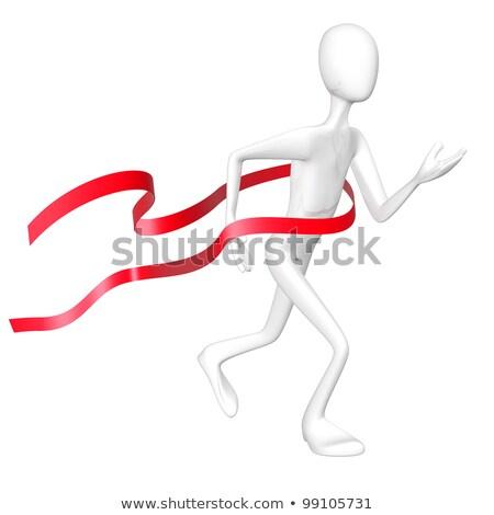 Winner with red finishing belt isolated on white background. Stock photo © Leonardi