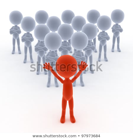Team spirit, business debate. 3d little humans Stock photo © photocreo