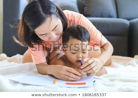 Toddler Drawing A Picture For Her Mom Stock photo © stuartmiles