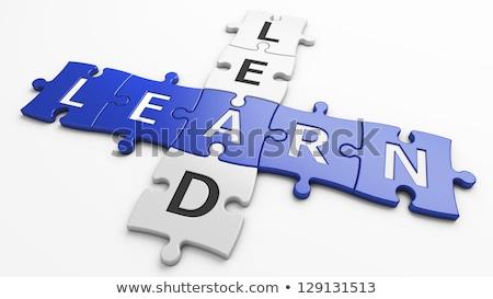 Keresztrejtvény cetlik fehér papír kék képzés Stock fotó © ivelin