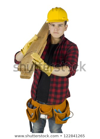 high angle shot of carpenter carrying planks on his shoulder with hammer Stock photo © photography33