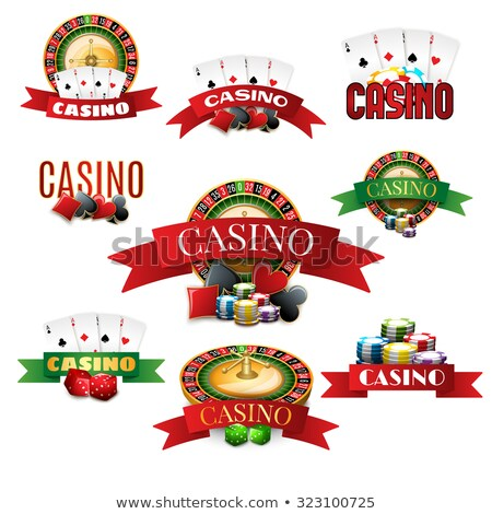 Gambling illustration with 3d casino symbols, cards and ribbon. Stock photo © articular