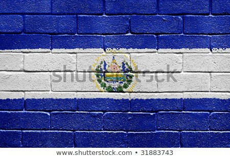 Bandeira El Salvador parede de tijolos pintado grunge textura Foto stock © creisinger