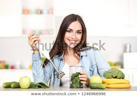 mulher · cozinha · comida · vidro · cabo - foto stock © photography33