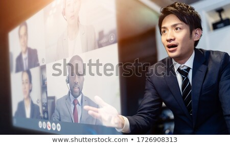 Tolakodó üzletember bemutat fehér üzlet férfi Stock fotó © wavebreak_media
