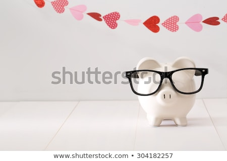 Stock photo: Piggy Bank and Red Heart