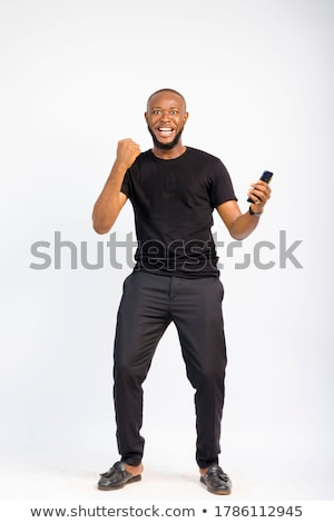 Retrato atraente moço isolado preto homem Foto stock © acidgrey