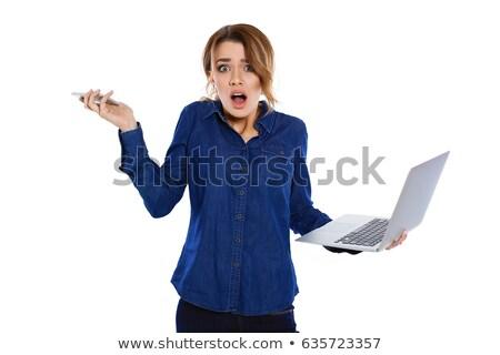 Сток-фото: сердиться · деловая · женщина · ноутбука · крест · белый