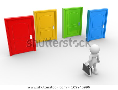 3d · pessoas · homem · diferente · portas · abstrato · verde - foto stock © Quka