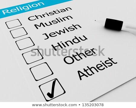 Religious Atheist or Agnostic on checkmark Stock photo © dacasdo