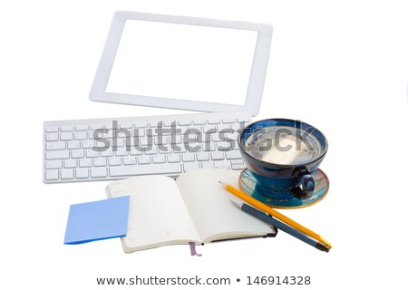 open notebook with key board and tablet Stock photo © neirfy