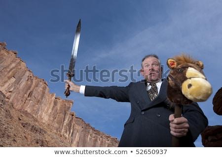 Gek zakenman zwaard uitvoerende corporate jonge Stockfoto © Rugdal