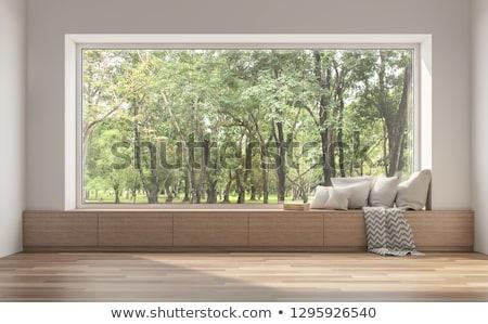 Foto stock: Grande · janela · belo · mulher · jovem · sessão · mulher