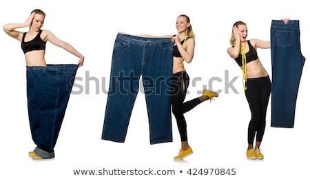 Genç kız santimetre diyet kadın kız eller Stok fotoğraf © Elnur