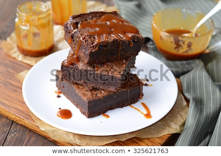 Salted Chocolate Caramel Brownies Stock photo © songbird