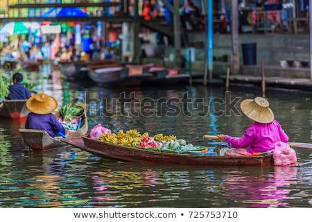 Friss banán reggel piac Bangkok étel Stock fotó © meinzahn