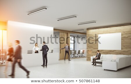 man sits on poster. 3D image stock photo © ISerg
