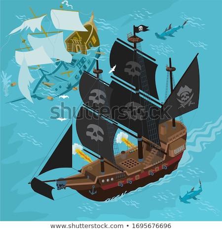 Sinking pirate brigantine Stock photo © andromeda