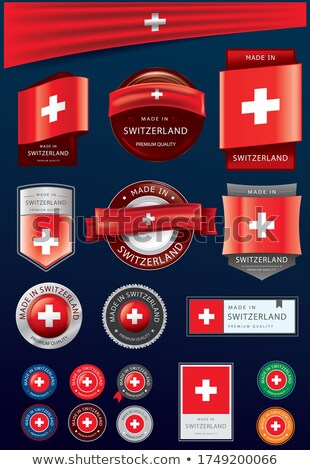 Foto stock: Made In Switzerland - Red Rubber Stamp