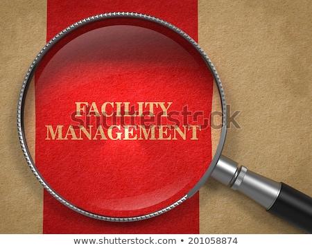 ストックフォト: 施設 · 管理 · 虫眼鏡 · 碑文 · 赤 · 紙