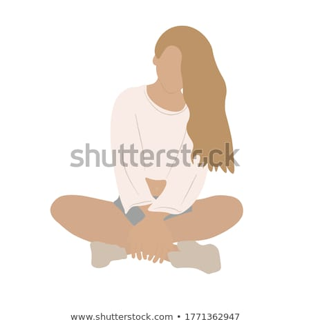 Relaxed healthy woman sitting cross-legged Stock photo © dash