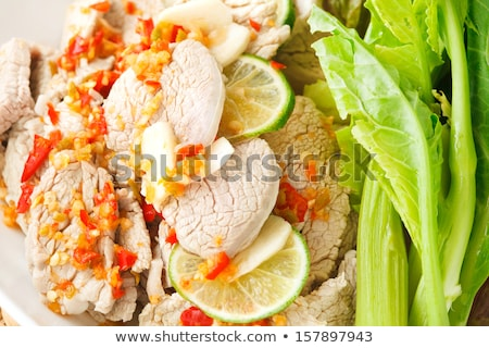 ストックフォト: 豚肉 · 辛い · ソース · レモン · アジア