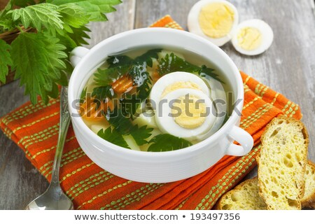 russian traditional nettle soup with eggs and sour cream Stock photo © zoryanchik