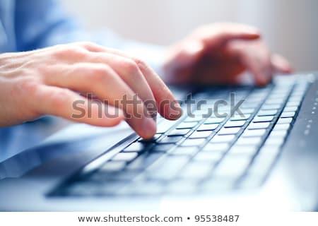クローズアップ 画像 男性 手 入力 ノートパソコンのキーボード ストックフォト © deandrobot