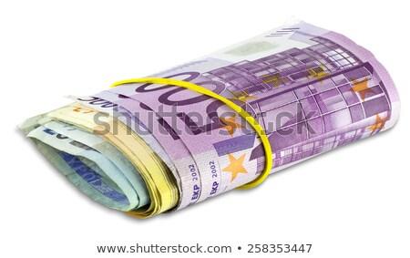 rollen · euro · bankbiljetten · elastiekje · geïsoleerd · witte - stockfoto © smuki