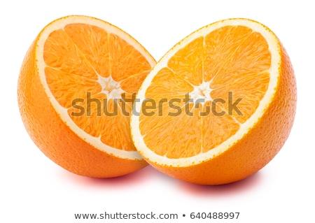 Iki turuncu yalıtılmış beyaz yeme kesmek Stok fotoğraf © vtls