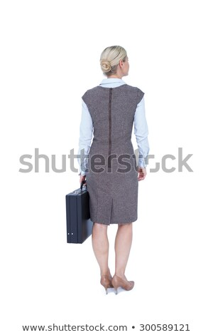 назад деловая женщина портфель белый женщину Сток-фото © wavebreak_media
