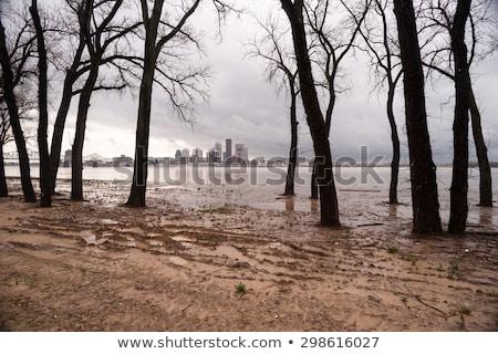 ohio river riverbanks overflowing louisville kentucky flooding stock photo © cboswell