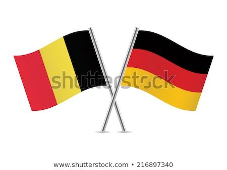 ストックフォト: ドイツ · ベルギー · フラグ · パズル · 孤立した · 白