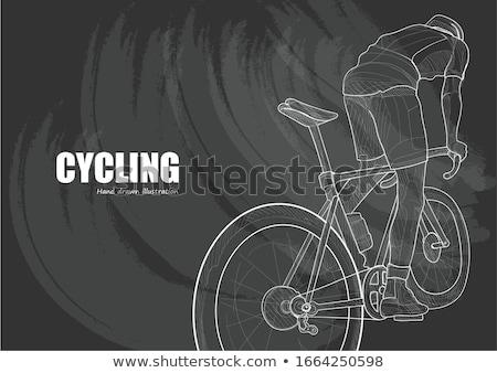 rajz · kerékpáros · illusztráció · fehér · háttér · keret - stock fotó © rastudio