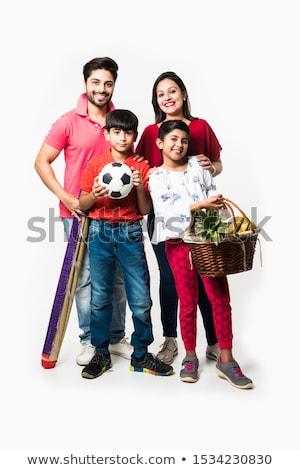 Zdjęcia stock: Szczęśliwą · rodzinę · cztery · piknik · ogród · kobieta · dziewczyna