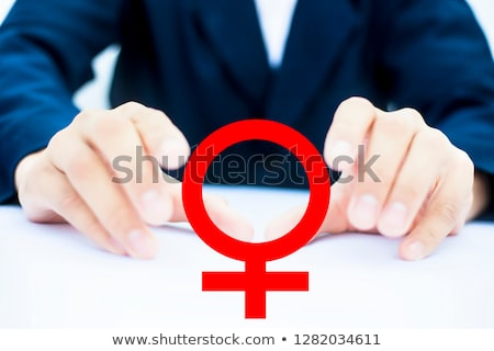 close up of happy lesbian couple with venus symbol Stock photo © dolgachov